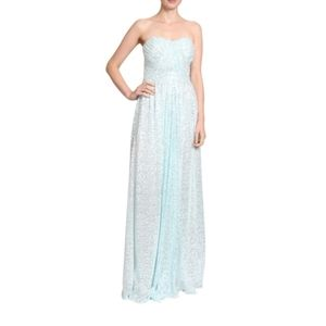 Badgely Mischka Icy Mint Blue Sequin Dress Gown